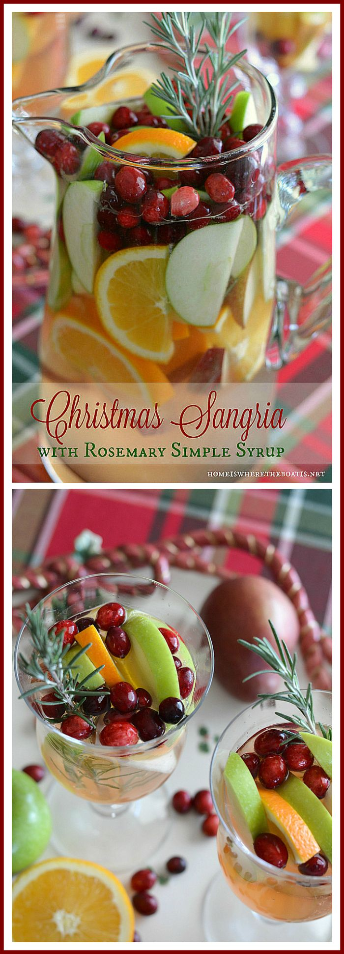 Making Spirits Bright: Christmas Sangria with Rosemary Simple Syrup! As easy to mix as it is to drink! | homeiswheretheboatis.net #cocktail