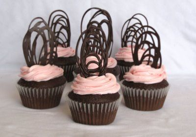 Chocolate cupcakes with chocolate decoration