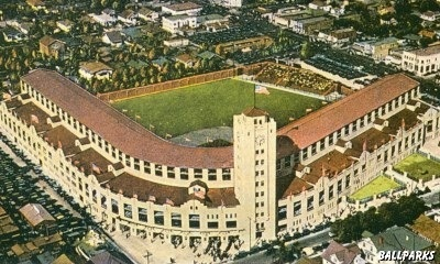 The first home of the Los Angeles Angels. Wrigley Field in Hollywood CA. Wrigley Field sat where The Grove and the Farmers Market are today.