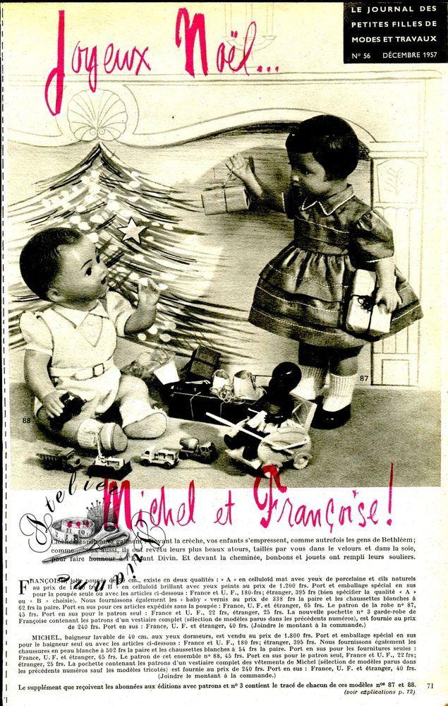 Page originale, Poupée Michel et Françoise MODES ET TRAVAUX Décembre 1957 ❤   1
