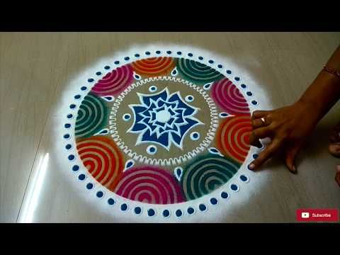 Easy Color Rangoli Design For HOLI Festival || holi celebration - YouTube