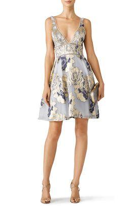 renttherunway.com - rent designer clothes  Marchesa Notte Metallic Floral Cocktail Dress