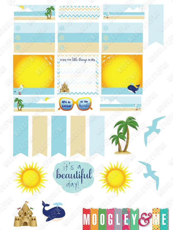 Beach Themed Stickers for your Horizontal or Vertical Erin Condren Life Planner, Kikki K, Happy Planner, Plum Paper, or any planner! by MoogleyandMe on Etsy