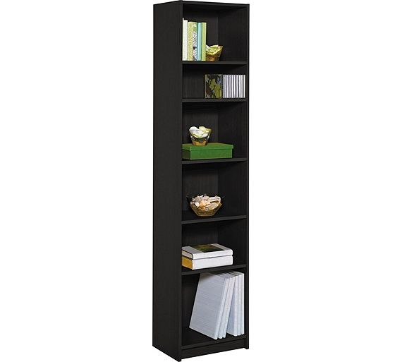 Home Maine Half Width Tall Extra Deep Bookcase Black Ash At Argos Co