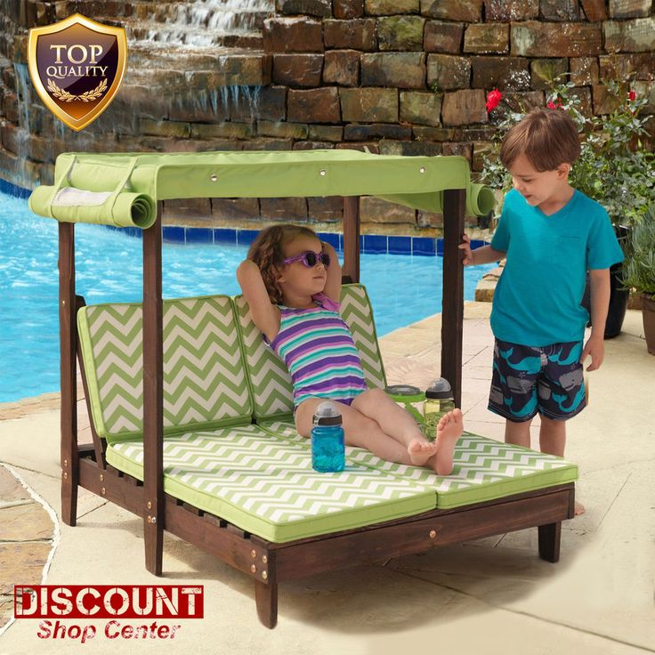 Kids Lounge Chair Furniture Double Chaise Lounger Outdoor Patio Canopy Pool  New #KidKraft