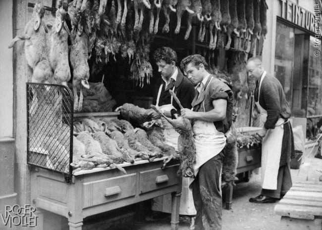 Etal de gibier d'une boucherie après l'ouverture de la chasse. Paris, 1er septembre 1952.