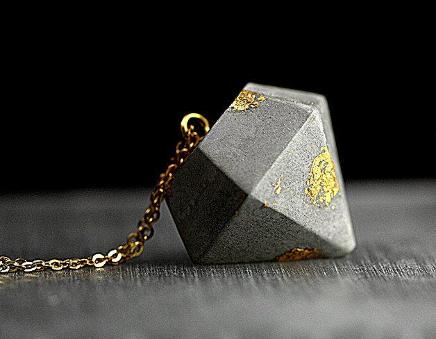 Necklaces – Concrete & gold flakes necklace – a unique product by…