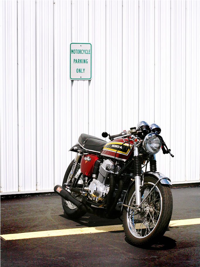 "I love this motorcycle! Yoshimura Pipe, back when ""Pop's was still into Hondas. Cafe racers are beautiful!"