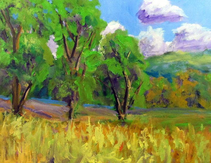 "new colorfull 2 dimensional art  8x10"" pantings of hills  & tree by Ken Burnside #Impressionism"