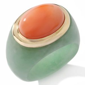 coral and green jade ring