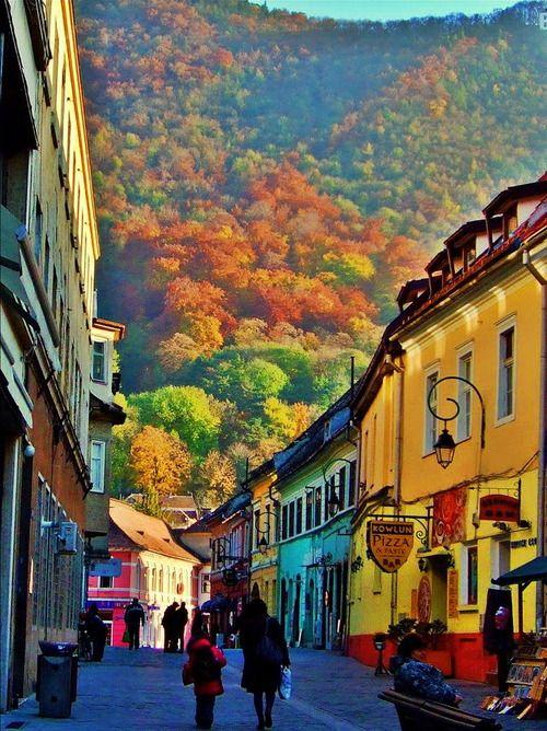 Colorful buildings in the historical centre of Brasov in Transylvania, Romania.