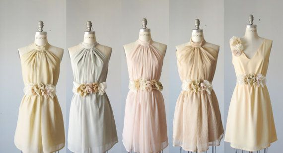 mix  bridesmaid dresses  / Romantic /  pale pastel   / dresses /Fairy / Dreamy / Bridesmaid / Party / wedding / Bride /. $99.99, via Etsy.