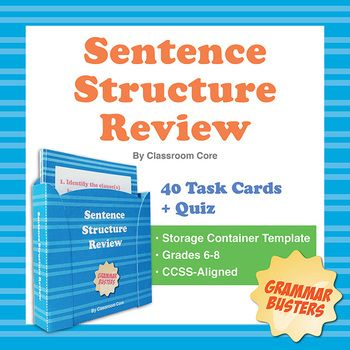 Students review simple, compound, complex, and compound-complex sentences by identifying sentence types, clauses, coordinating conjunctions, and relative pronouns. The set features a 20-question multiple-choice quiz, 40 task cards, and a matching build-your-own storage case for fun and convenient organization of your cards. This is the fourth and final task card set in our Sentence Structure Series! $