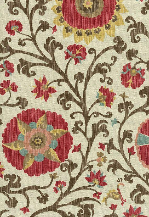 "SCHUMACHER Fabric GREEFF ""Fergana Embroidery Print"" Teak Suzani. $33.00, via Etsy."