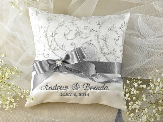 Lace Wedding Pillow Ring Bearer Pillow by forlovepolkadots Like the grey swirls sewed into the lace on pillow but other pillow design