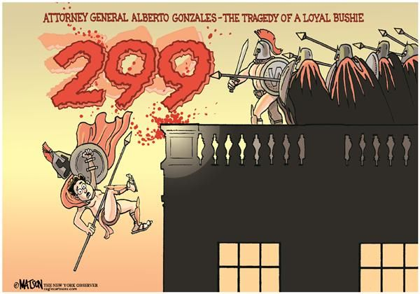 RJ Matson - The New York Observer - Alberto Gonzales-The Tragedy of A Loyal Bushie-COLOR - English - Alberto, Gonzales, Attorney, General, Tragedy, Loyal, Bushie, Bush, President, White House, 300, 299