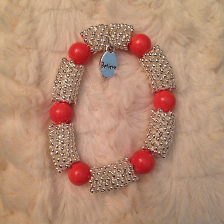 Silver links with coral