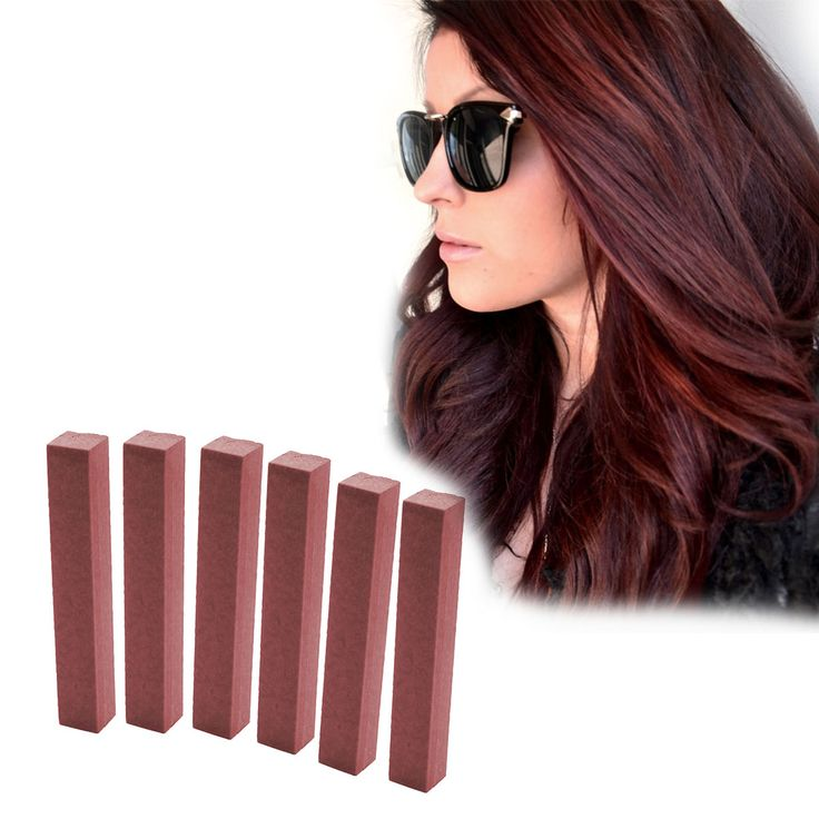 Best Burgundy Hair Dye Set | BRICK RED - 6 Reddish Brown Hair Chalks | DIY Plum HairChalk Kit