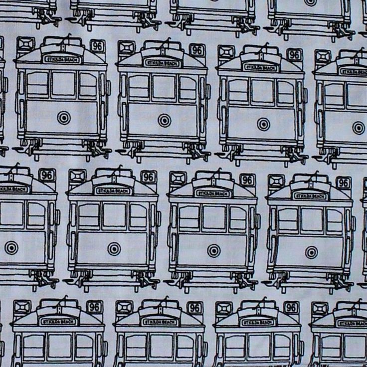 MELBA - TRAM BLACK & WHITE -  Ella Blue Fabrics - by FQ or 25cm