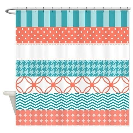 Top 25 Best Coral Shower Curtains Ideas On Pinterest Shower Curtains Striped Shower Curtains