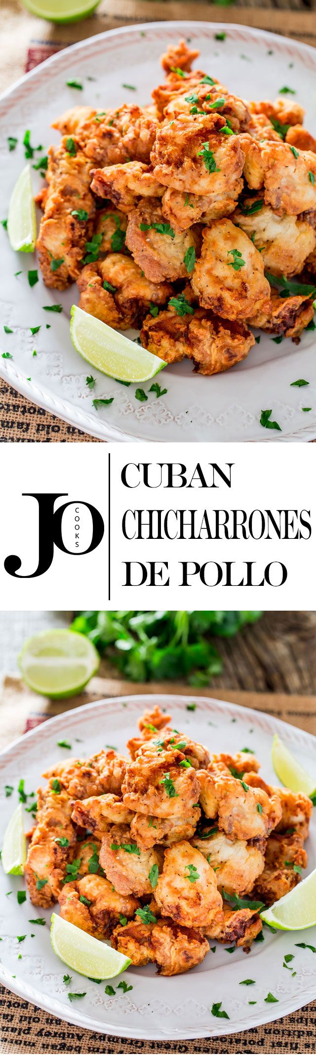Cuban Chicharrones de Pollo - chicken thigh pieces marinated in a garlic, lime and rum marinade, dredged through flour and fried to perfection.