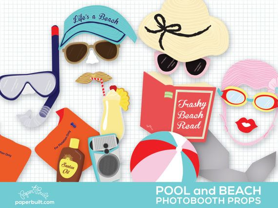Pool Party Photo Booth Props Swimming Party by PaperBuiltShop