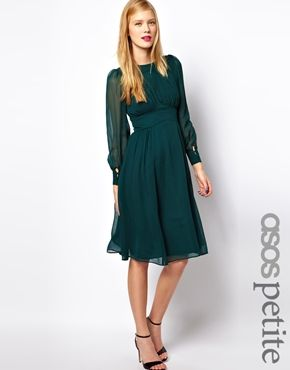 ASOS PETITE Midi Dress With Gathered Front