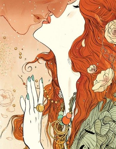 Redhead with flowers, kiss