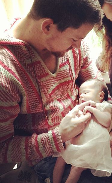 Here's Channing Tatum gazing adorably at baby Everly. | 17 Hot Celebrity Dads And Their Babies To Brighten Up Your Day
