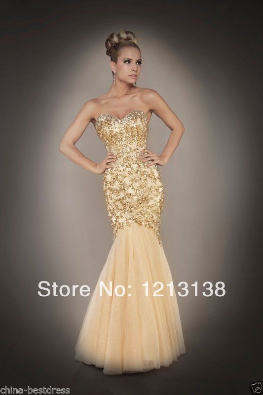 2014 Sexy Gold Mermaid Handmade Prom Dresses Ball Gown Evening dress Custom $198.00