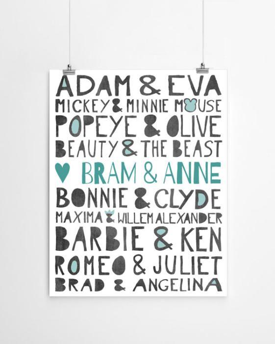 Persoonlijk en origineel cadeau: Gepersonaliseerde 'famous love' art-print met eigen namen.