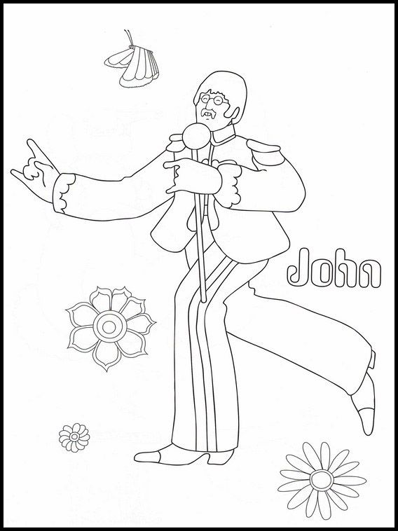The Beatles 14 Printable Coloring Pages For Kids Coloring Pages For Kids Coloring Books Coloring Pages