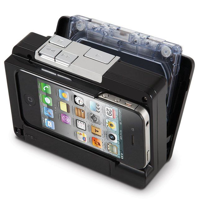 Cassette To iPod Converter. This is the device that converts audio tape cassettes into MP3 files and stores them directly onto an iPhone or iPod touch. It accepts most iPhones and iPod touches, and normal or chrome cassette tapes.