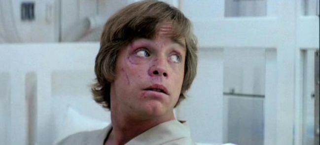 Mark Hamill in 'The Empire Strikes Back' (Lucasfilm) By Jason Guerrasio, Business Insider On January 11, 1977, Mark Hamill got into a car accident that fractured his nose and cheekbone.  In the opening scene of The Empire Strikes Back, Skywalker's face is scratched after being attacked by a Wampa, which