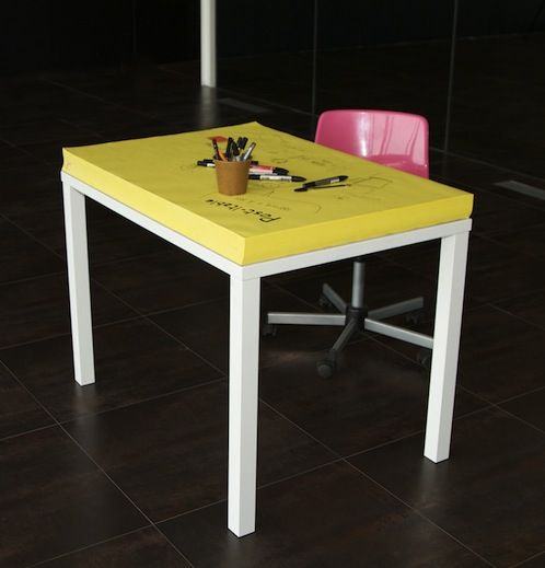 For Designers To Constantly Doodle, A Giant Post-it Note Desk - DesignTAXI.com