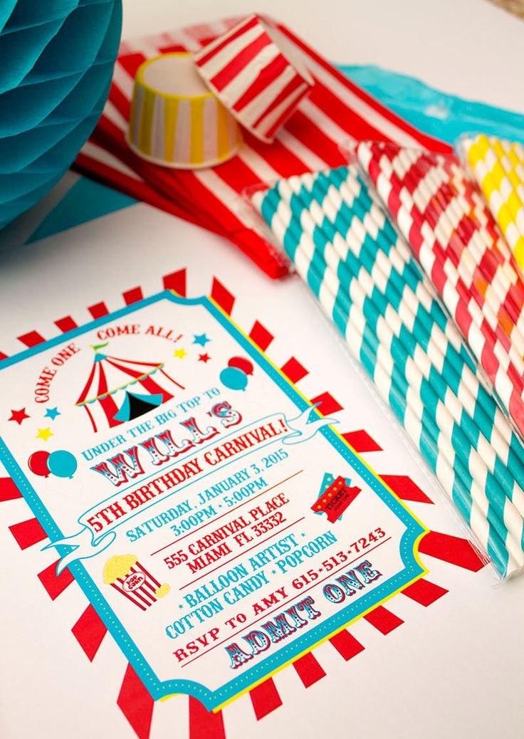 Carnival Birthday Party Printable por ShopCelebrationLane en Etsy