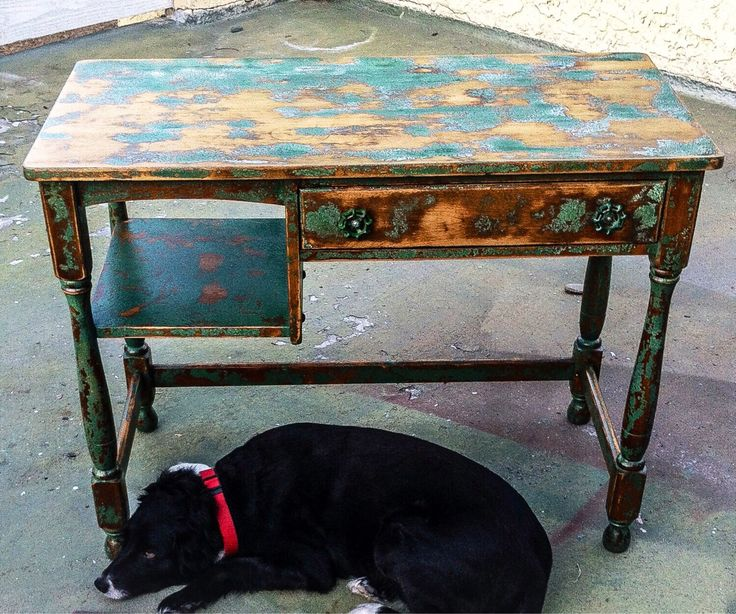 SOLD - Farmhouse Vintage Antique Desk, shabby chic distressed shades of green w/ warm metallic undertones & garden hose turn knobs on staine by ReincarnatedwithLove on Etsy https://www.etsy.com/listing/199396135/sold-farmhouse-vintage-antique-desk