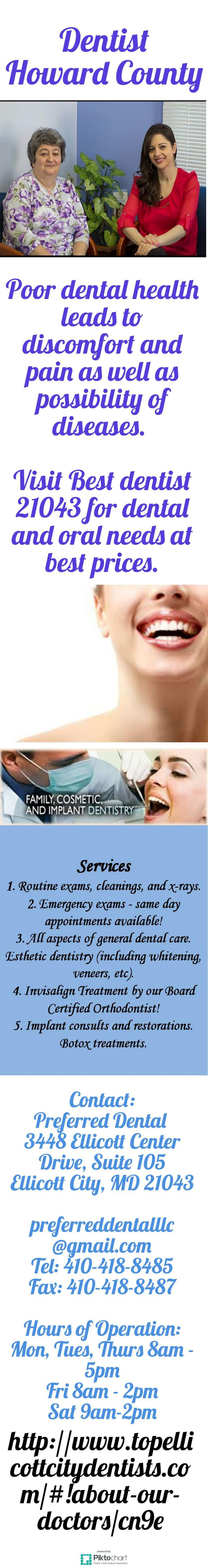 Poor dental health leads to discomfort and pain as well as possibility of diseases. Visit Best dentist 21043 for dental and oral needs at best prices. See more at:  http://www.topellicottcitydentists.com/#!about-our-doctors/cn9e
