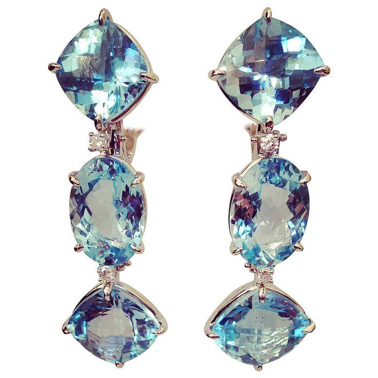 Blue Topaz Diamond White Gold Three Stone Drop Earring   From a unique collection of vintage dangle earrings at https://www.1stdibs.com/jewelry/earrings/dangle-earrings/