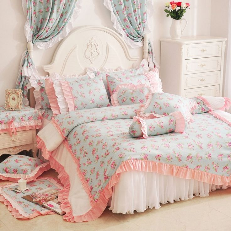 Peachpuff  White Girls Ruffle Bowtie Floral Bedding Sets