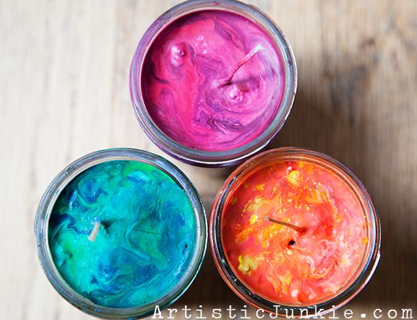 Crayon Candles - for all those broken candles!  I have TONS of crayons... we should do this with the kids!