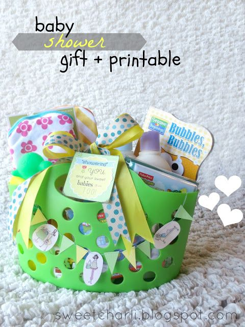"""showering you and your sweet baby too"" Baby shower gift idea and free tag printable. (lots of items from dollar store!)"