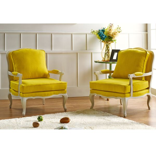 Antoinette Traditional Classic Antiqued French Yellow Accent Chair - Overstock Shopping - Great Deals on Baxton Studio Living Room Chairs