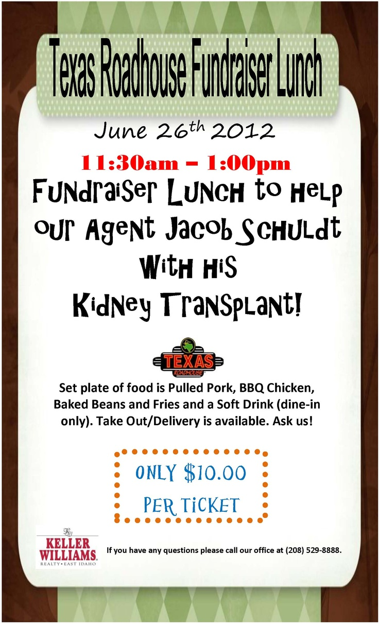 texas roadhouse fundraiser lunch to help with a kidney transplant