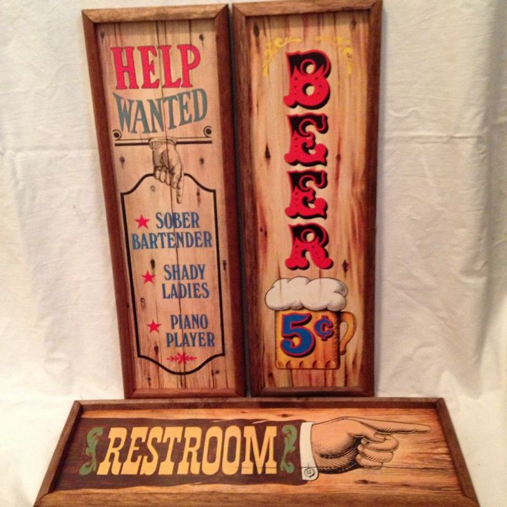 Bar Signs Saloon 3 Vintage 1973 Americana Decorative Plaques Restrooms Beer Wood #Collectible