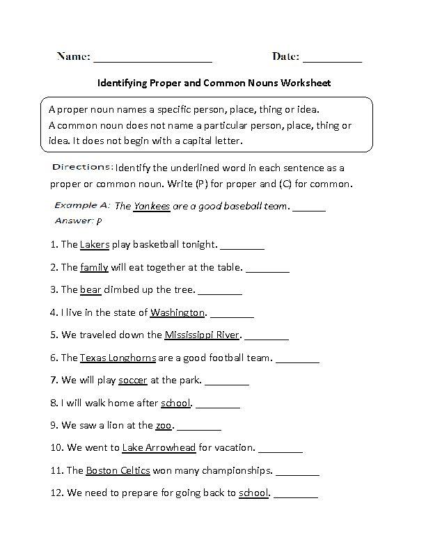 Identifying Proper And Common Nouns Worksheet Part 1 Beginner