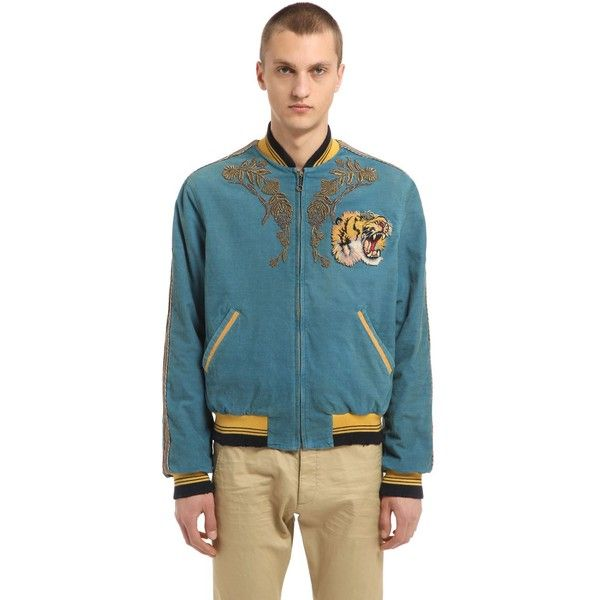 Gucci Men Stretch Corduroy Bomber Jacket ($5,390) ❤ liked on Polyvore featuring men's fashion, men's clothing, men's outerwear, men's jackets, blue, mens blouson jacket, mens corduroy jacket, gucci mens jacket and men's embroidered bomber jacket
