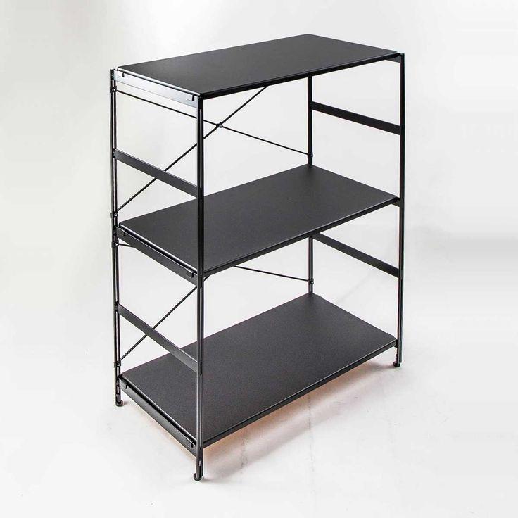 nspラック/ハイ PVCタイプ(ブラック) 標準セット/棚板3枚。ラック プリンターラック デスクワゴン 木製 ホワイト レンジ台 キッチン収納 [インテリア企画●nspラック/ハイ PVCタイプ(ブラック) 標準セット/棚板3枚]