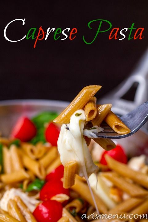 Caprese Pasta...all the flavor of a caprese salad made into a light, healthy, protein-packed dinner. Ready in 20 minutes!