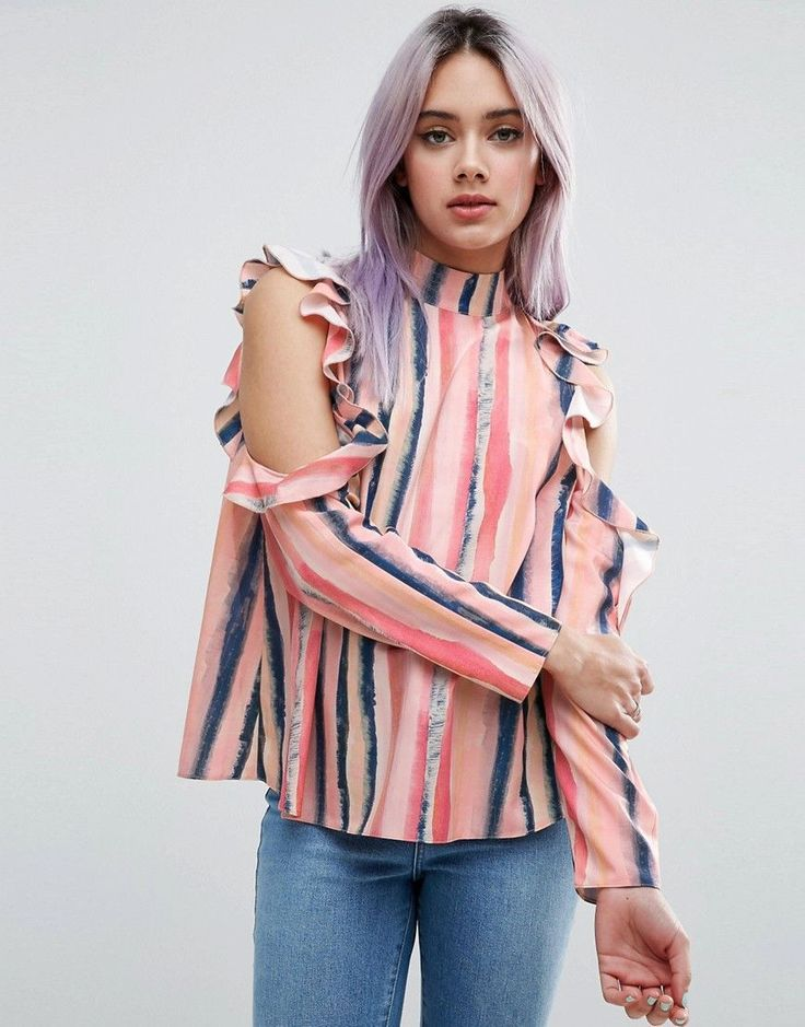 ASOS Cold Shoulder Top with Ruffle in Blurred Pastel Stripe - Multi